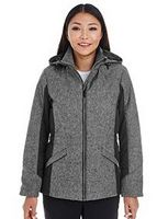 765192019-132 - DJ Classic Ladies' Midtown Insulated Fabric-Block Jacket W/ Crosshatch Mélange - thumbnail