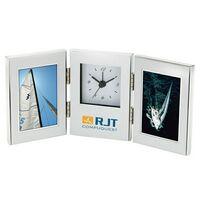 """702163184-184 - Brushed Aluminum Photo Frame w/ Analog Clock (Holds 2 2""""x3"""" Photos) - thumbnail"""
