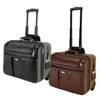 745815270-184 - Palermo Brown Napa Leather/Canvas Trolley Case - thumbnail