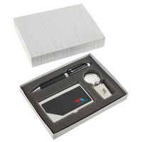 965649597-184 -  Carbon Fiber Pen, Business Card Case and Chrome Keyring Set - thumbnail