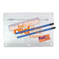 "591071245-819 - Clear Translucent Pouch School Kit w/ 2 Pencils, 6"" Ruler & Eraser - thumbnail"