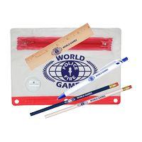 """731071228-819 - Clear Translucent Pouch School Kit w/ 2 Pencils, 6"""" Ruler, Pen & Sharpener (Spot Color) - thumbnail"""