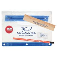 "781586376-819 - Clear Translucent Pouch School Kit w/ Pencil, 6"" Ruler, Eraser & Sharpener - thumbnail"