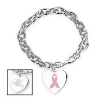 984585188-114 - Awareness Bracelet W/ Pink Ribbon Charm - thumbnail