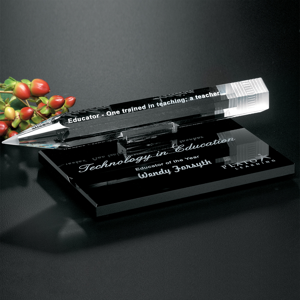 "911339775-133 - Pencil Award on Black Glass Base 8"" W - thumbnail"