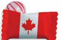 305554537-105 - Red Striped Peppermint Candy w/ Stock Canadian Flag Wrapper - thumbnail