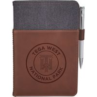 185783388-115 - Alternative® Canvas Leather Wrap Bound Notebook - thumbnail