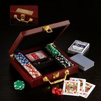 303925280-116 - Wooden Box Poker Set - thumbnail