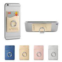536468117-159 - Leeman™ Shimmer Card Holder w/Metal Ring Phone Stand - thumbnail