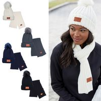 706056463-159 - Leeman™ Ribbed Knit Winter Duo Beanie & Scarf - thumbnail