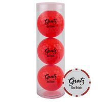 316177014-815 - 3-Ball Tube w/ Colored Golf Balls & Poker Chip Ball Marker - thumbnail