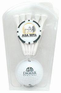 793992249-815 - Golf Ball & 5-Tee Clam W/Poker Chip Ball Marker - thumbnail