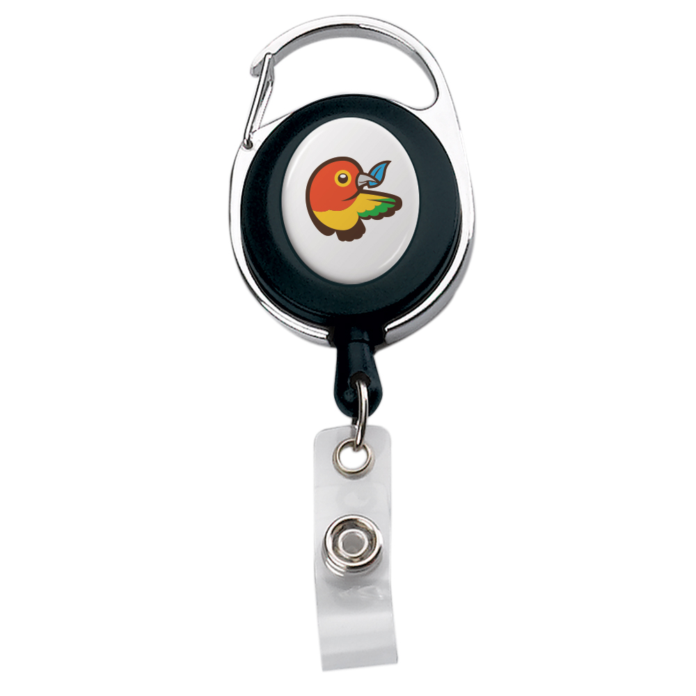795322407-190 - Imported Oval Carabiner Metal/Plastic Retractable Badge Reel - thumbnail