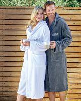 953429843-173 - Cobblestone Mills Hooded Coral Fleece Robe - thumbnail