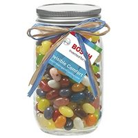 185432229-153 - 16 Oz. Glass Mason Jar w/ Raffia Bow (Jelly Belly® Jelly Beans) - thumbnail