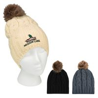 305782237-816 - Cameron Cable Knit Pom Beanie - thumbnail