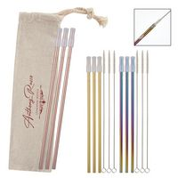 386131563-816 - 3- Pack Park Avenue Stainless Straw Kit with Cotton Pouch - thumbnail
