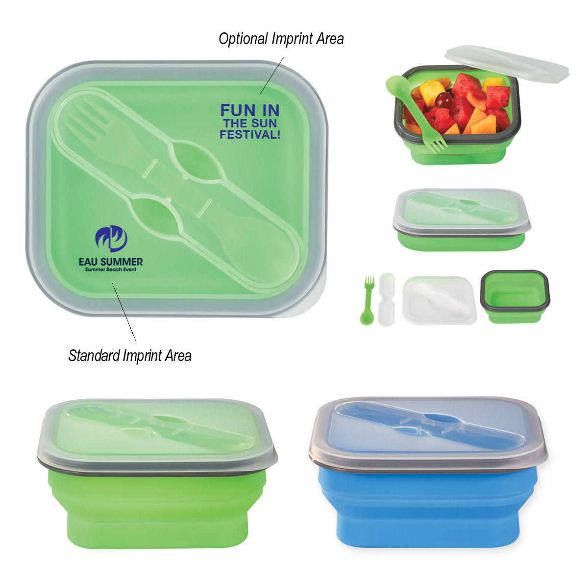 574265748-816 - Collapsible Food Container With Dual Utensil - thumbnail