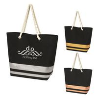 725808409-816 - Metallic Accent Rope Tote Bag - thumbnail