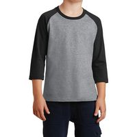 735339713-816 - Port & Company® Youth Core Blend 3/4-Sleeve Raglan Tee - thumbnail