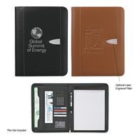 743133062-816 - Eclipse Bonded Leather Zippered Portfolio With Calculator - thumbnail