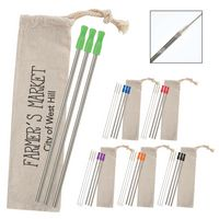 756131559-816 - 3-Pack Stainless Straw Kit with Cotton Pouch - thumbnail