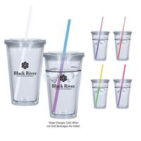 776107433-816 - 16 Oz. Newport Acrylic Tumbler With Mood Straw - thumbnail