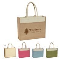 902862825-816 - Jute Tote Bag With Front Pocket - thumbnail