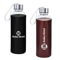 946116930-816 - 18 OZ. Aqua Pure Glass Bottle With Leatherette Sleeve - thumbnail