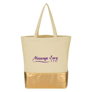 955517956-816 - Metallic Accent 12 Oz. Cotton Tote Bag - thumbnail