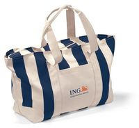 59765188-112 - Large Striped Canvas Tote - Navy Blue - thumbnail