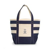 984577060-112 - Seaside Zippered Cotton Tote - Navy Blue Striped - thumbnail