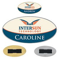 "565472781-138 - 3""x1 1/2"" BIC Graphic® Oval Metal Name Tag - thumbnail"