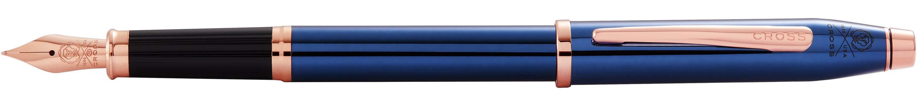 146442841-126 - Century II Translucent Cobalt Blue Lacquer with Rose Gold PVD Nib and Appointments Fine Fountain Pen - thumbnail