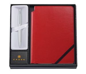 385514393-126 - Calais™ Satin Chrome Ballpoint Pen w/Medium Crimson Journal - thumbnail