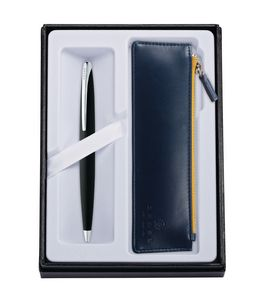 545514410-126 - ATX® Basalt Black Ballpoint Pen w/Midnight Blue ZIP Pouch - thumbnail
