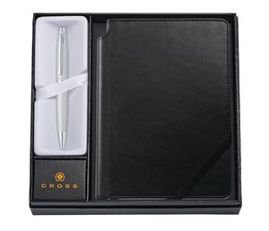 585514391-126 - Calais™ Satin Chrome Ballpoint Pen w/Medium Classic Black Journal - thumbnail