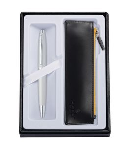 715514403-126 - Calais™ Satin Chrome Ballpoint Pen w/Classic Black ZIP Pouch - thumbnail