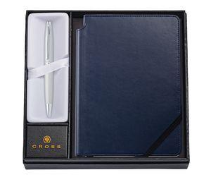 985514392-126 - Calais Satin Chrome Ballpoint Pen w/ Medium Midnight Blue Journal - thumbnail