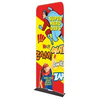 """185309663-183 - Indoor Double Sided Banner Stand w/ Fabric Banner (25 5/8"""" x 91"""") - thumbnail"""
