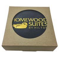 335048459-183 - Set of 4 Black Leather Foil Stamped Coasters w/ Natural Kraft Box - thumbnail