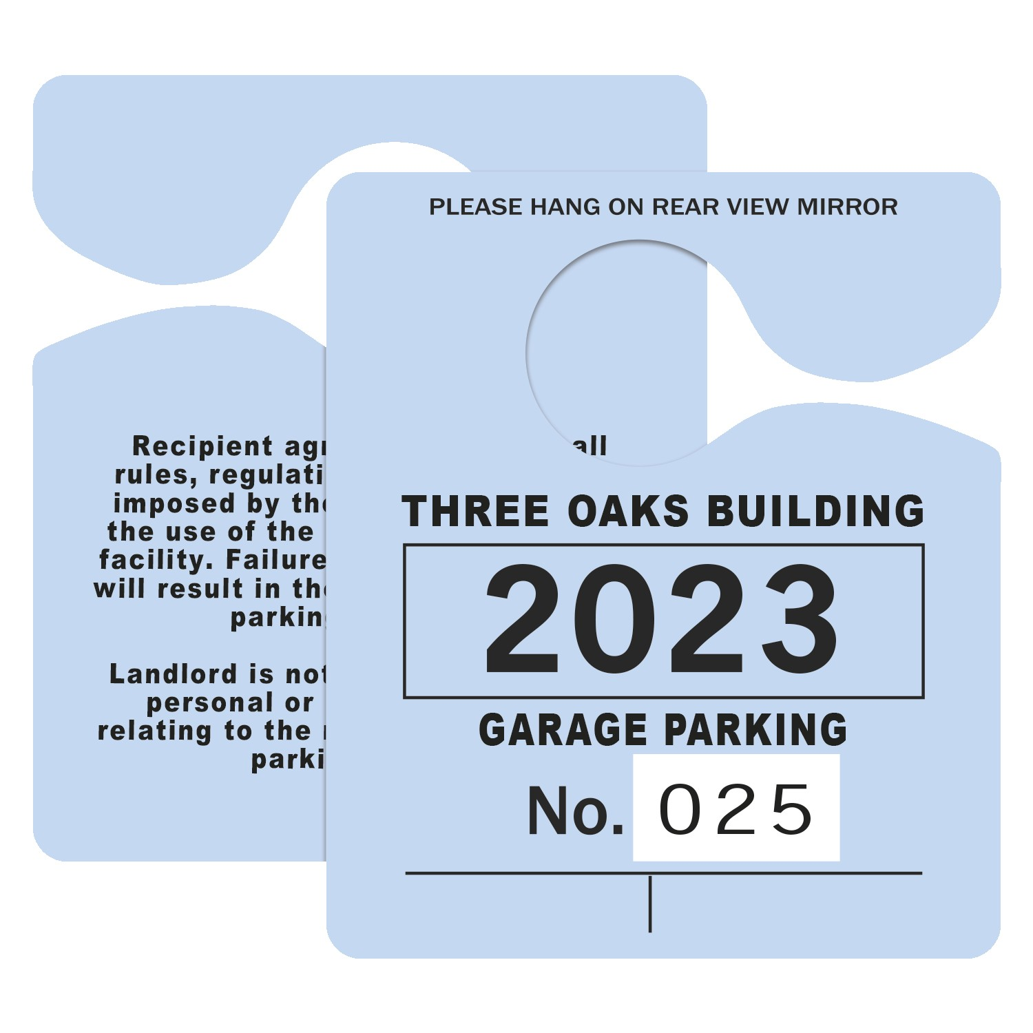 "395932445-183 - Plastic 23 pt. Numbered Hanging Parking Permit (3""x4 3/4"") - thumbnail"