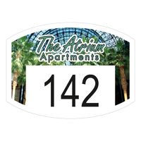 """545932498-183 - Curved Rectangle White Vinyl Full Color Numbered Outside Parking Permit Decal (1 1/2""""x2"""") - thumbnail"""