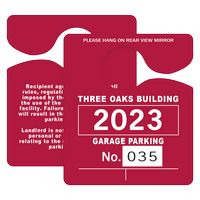 "595932443-183 - Plastic 35 pt. Numbered Hanging Parking Permit (3""x3 1/2"") - thumbnail"