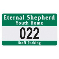 """715932481-183 - Rectangle White Reflective Numbered Outside Parking Permit Decal (2 3/4""""x4 3/4"""") - thumbnail"""