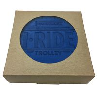 785048400-183 - Set of 4 Color Top Leather Coasters w/ Natural Kraft Box - thumbnail