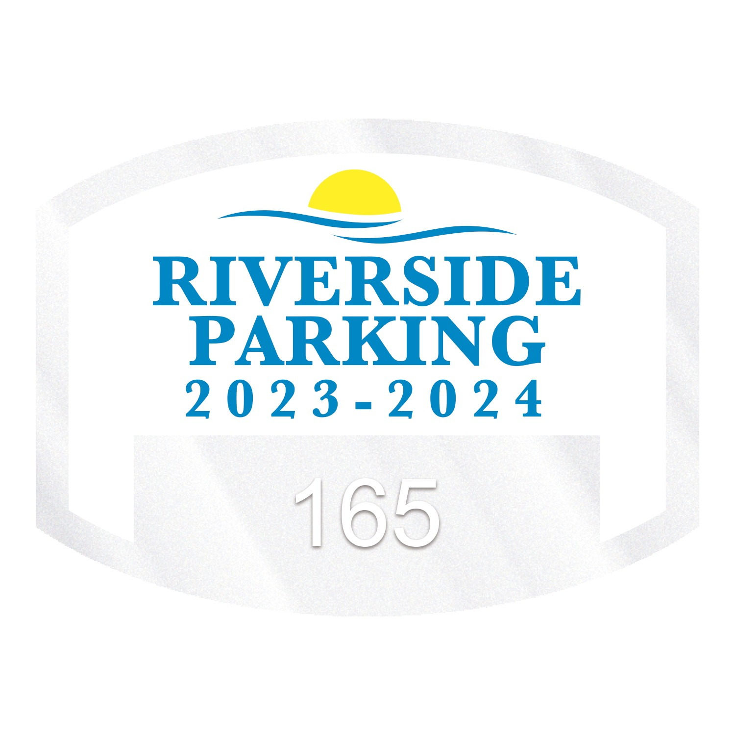 "785932471-183 - Curved Rectangle Clear Static Numbered Inside Parking Permit Decal (1 1/2""x2"") - thumbnail"