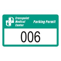 """785932476-183 - Rectangle White Vinyl Numbered Outside Parking Permit Decal (2""""x3 1/2"""") - thumbnail"""