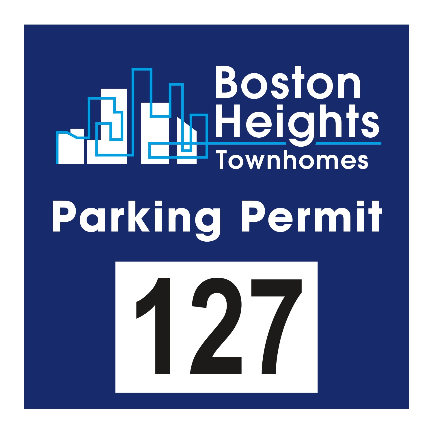 "985932479-183 - Square White Reflective Numbered Outside Parking Permit Decal (3""x3"") - thumbnail"