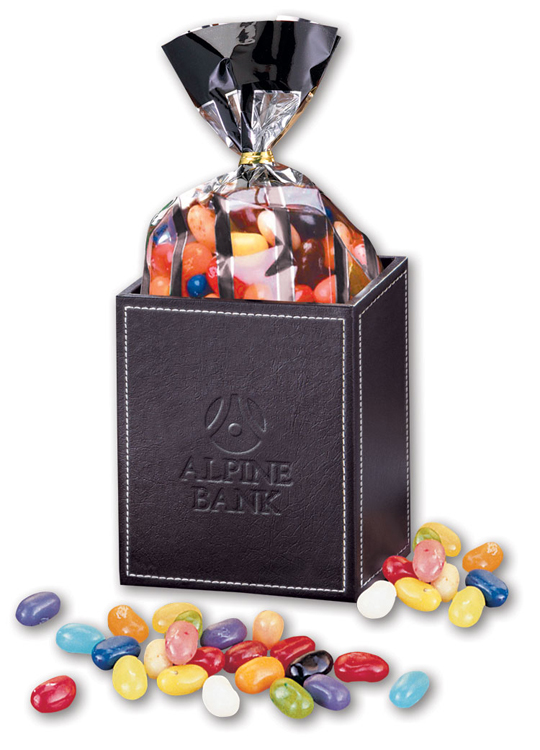 104694521-117 - Faux Leather Pen & Pencil Cup with Jelly Belly Jelly Beans - thumbnail